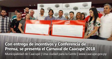 Con entrega de incentivos y Conferencia de Prensa, se presenta el Carnaval de Caacupé 2018